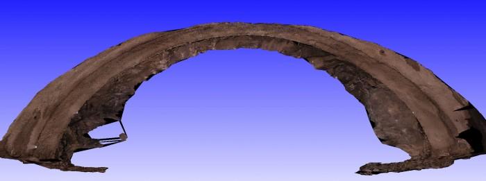 Abgewickelte Tunneloberfläche als Ergebnis der Auswertekette vom Stereo – Matching bis zum Zusammenfügen der einzelnen Rekonstruktionen am Tunnelmodell
