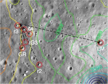 Figure 6: Measurements made within Apollo surface images (here: Apollo 17 ALSEP area) were used to determine surface feature and astronaut positions (cs…central station, r2…rock2, rG3…rock at geophone-3, GR… Geophone Rock. Right: Apollo 17 landing site features were identified in 0.5 m/pxl resolved LROC (Lunar Reconnaissance Orbiter Camera) ortho-images. The center of the net of angles depicts the astronaut's position while taking an ALSEP panorama (LM…lunar module, cs…central station, r1…rock1, rG3…rock at geophone-3, r2…rock2, GR…Geophone Rock, r3…rock3) Elevations refer to the mean Lunar radius of 1,737.4 km