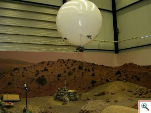 Model balloon flying over simulated Martian landscape © University of Wales, Aberystwyth