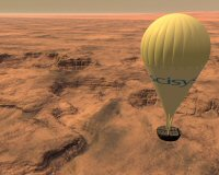 Artist's impression of a planetary aerobot flying over the Martian surface © SciSys