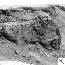 Figure 5: Composite sedimentary structures and textures at Cape St. Vincent, Victoria Crater, Mars. Image credit: NASA/JPL.