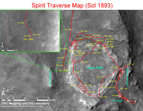 figure 1: the whole traverse maps (as of Sol 1891) and detailed traverse map (as of Sol 1893) for the Mars rovers: Spirit.